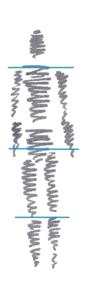 Schematische Zeichnung guter Körperhaltung